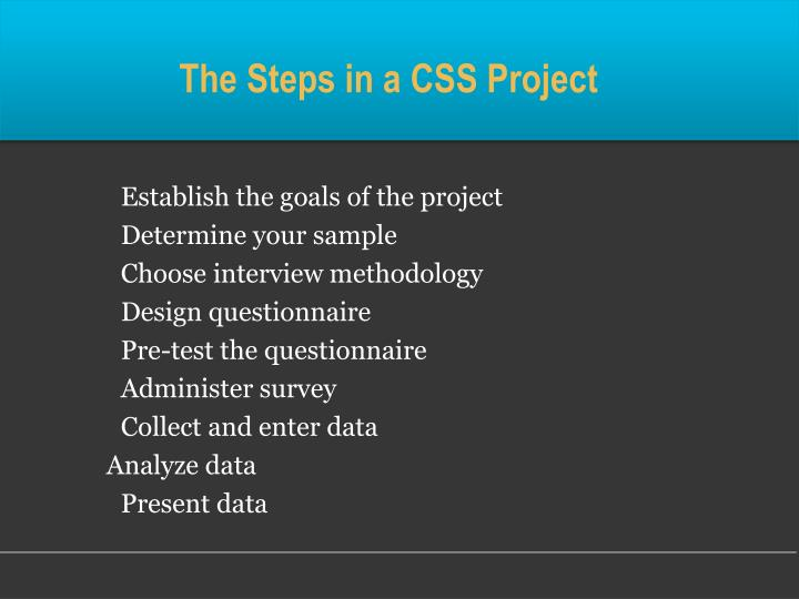 The Steps in a CSS Project
