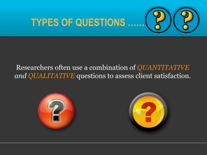 TYPES OF QUESTIONS ……