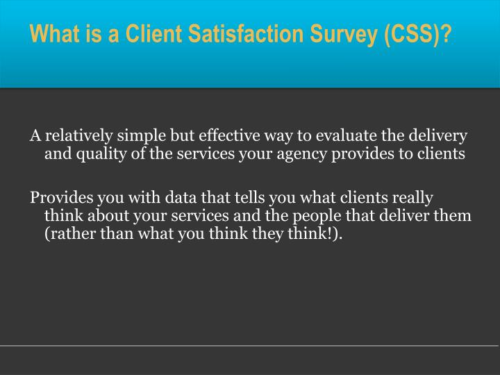 What is a Client Satisfaction Survey (CSS)?