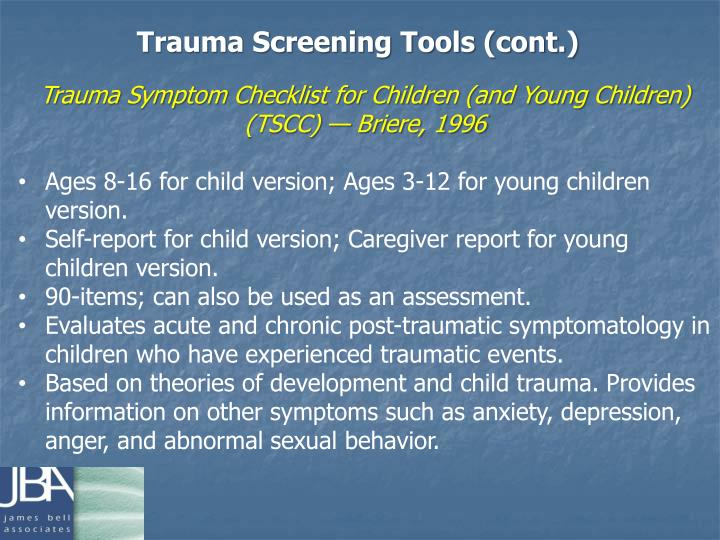 Trauma Screening Tools (cont.)