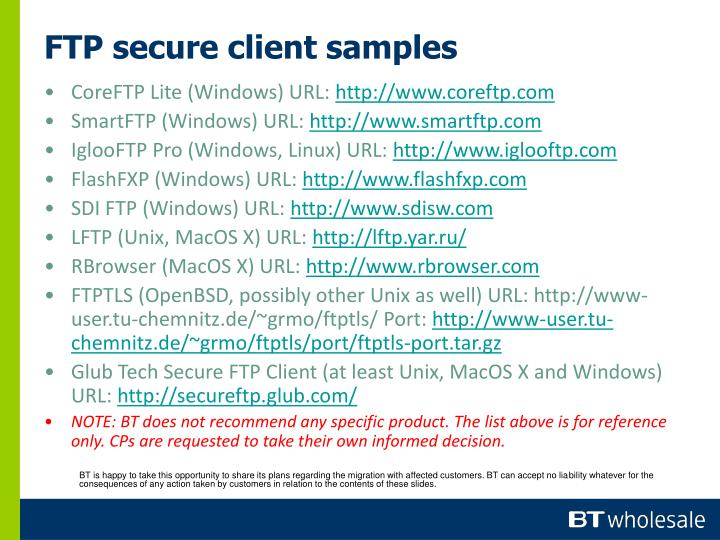 FTP secure client samples