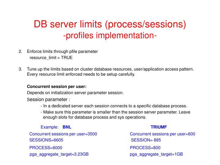 DB server limits (process/sessions)