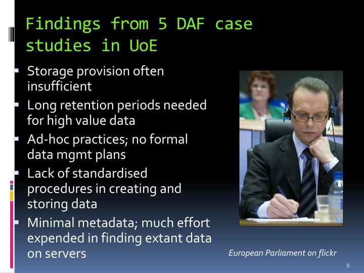 Findings from 5 DAF case studies in