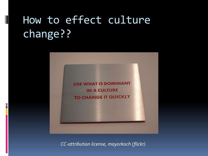 How to effect culture change