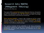 research data mantra management training