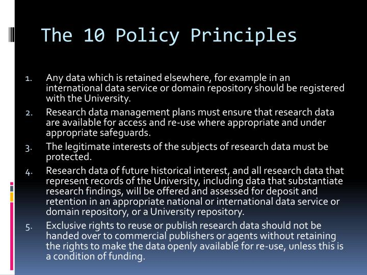 The 10 Policy Principles