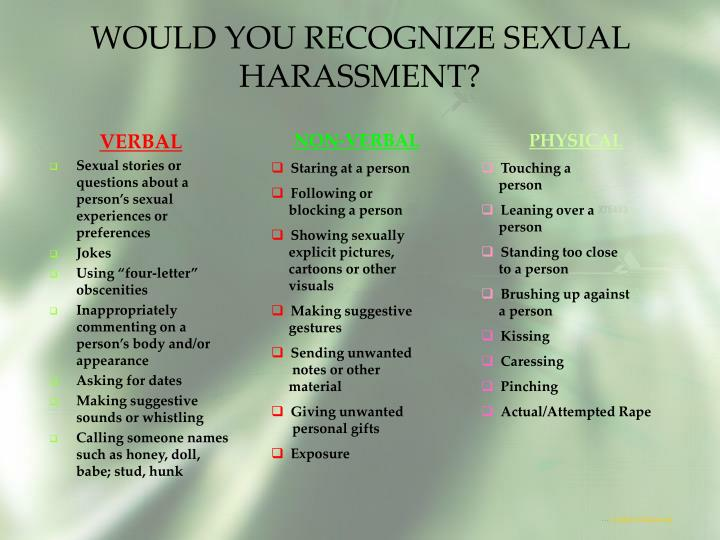 WOULD YOU RECOGNIZE SEXUAL HARASSMENT?