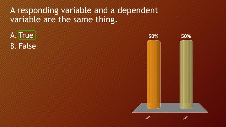 A responding variable and a dependent variable are the same thing.