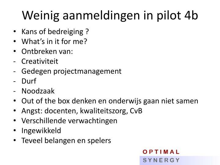 Weinig aanmeldingen in pilot 4b