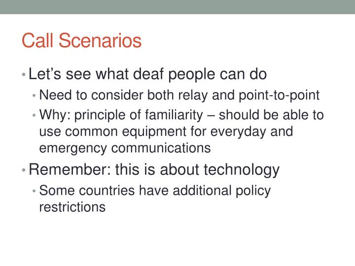 Call Scenarios