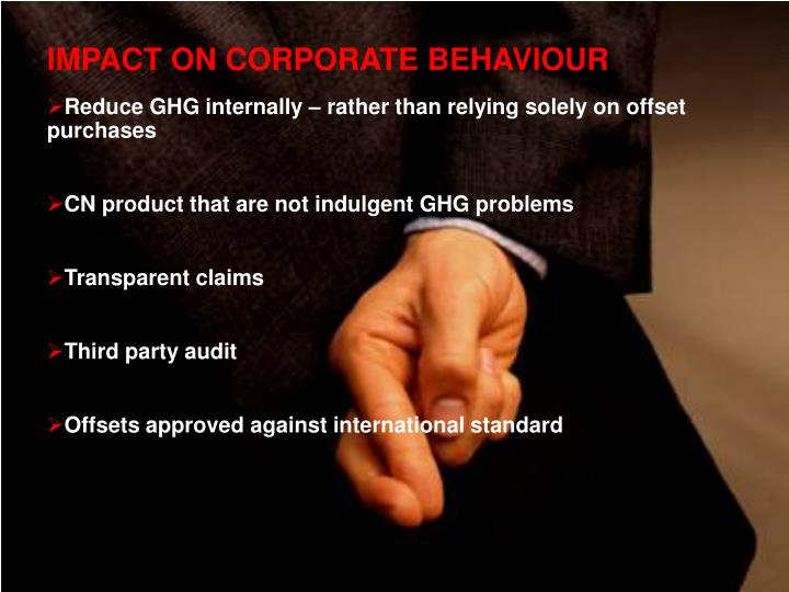 IMPACT ON CORPORATE BEHAVIOUR