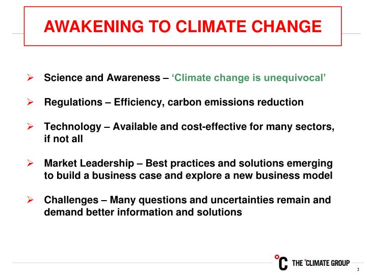 AWAKENING TO CLIMATE CHANGE