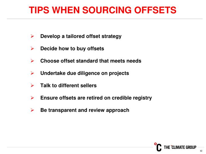 TIPS WHEN SOURCING OFFSETS