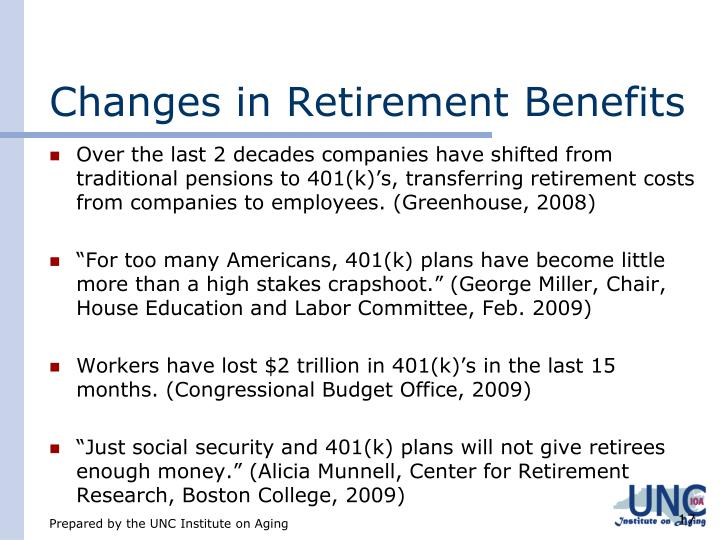 Changes in Retirement Benefits