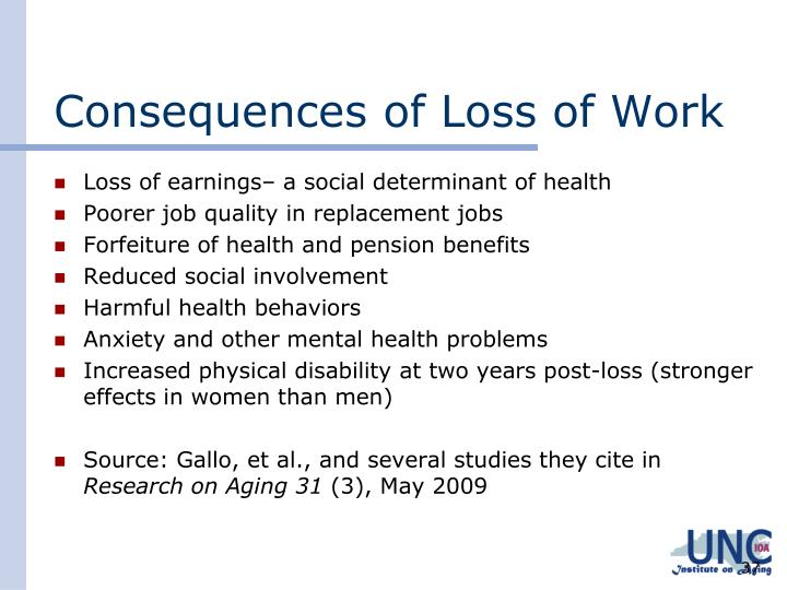 Consequences of Loss of Work