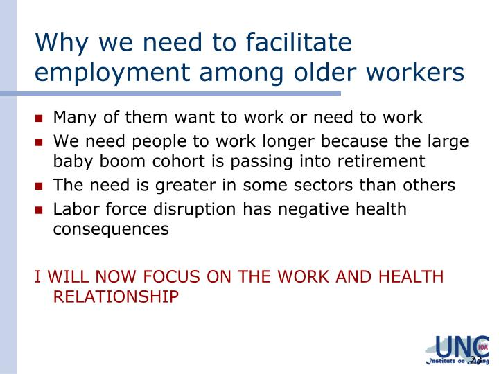 Why we need to facilitate employment among older workers