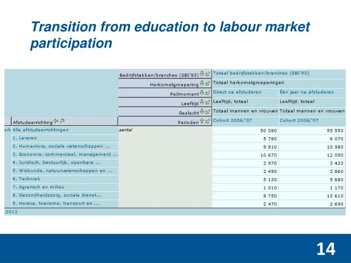 Transition from education to labour market participation