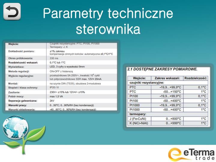 Parametry techniczne sterownika