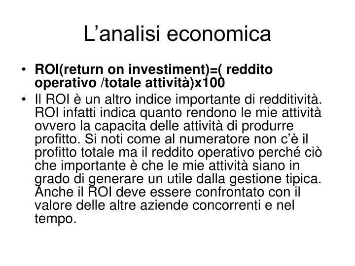 L'analisi economica