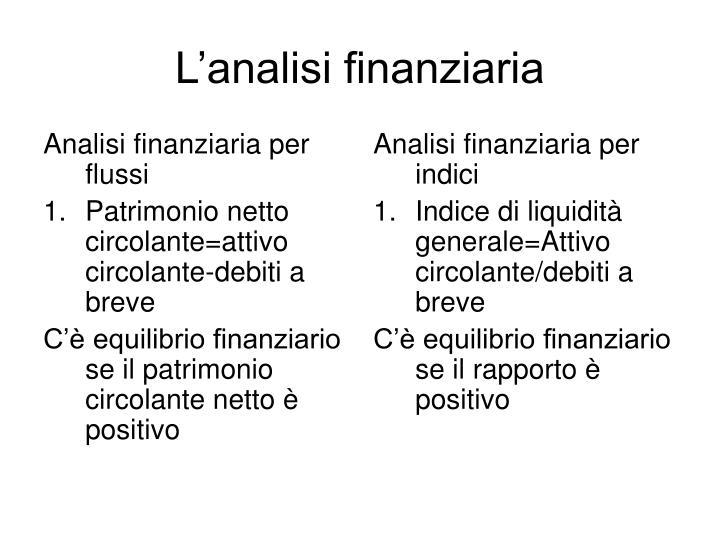 Analisi finanziaria per flussi