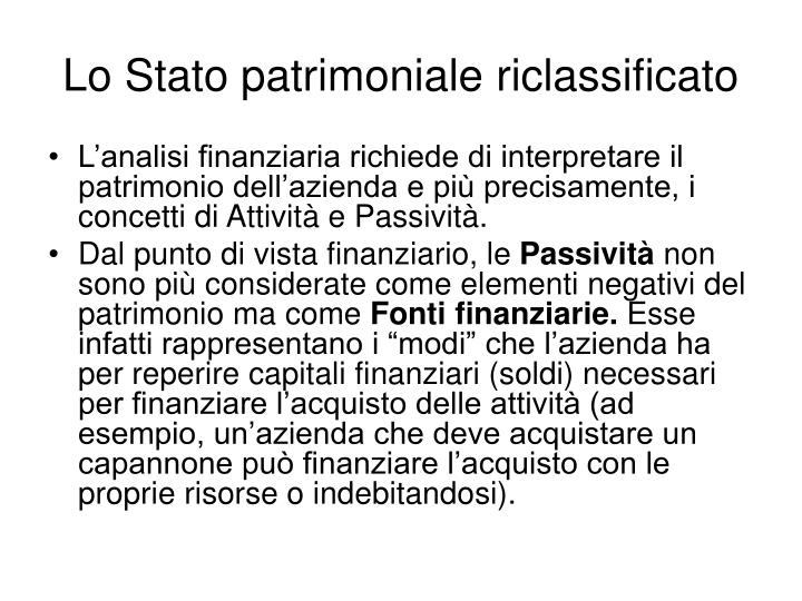 Lo Stato patrimoniale riclassificato