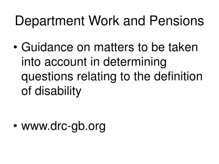 Department Work and Pensions