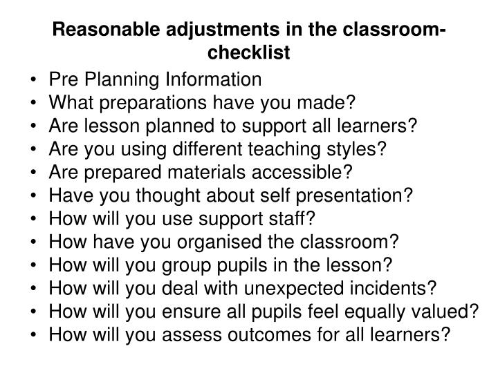 Reasonable adjustments in the classroom-checklist