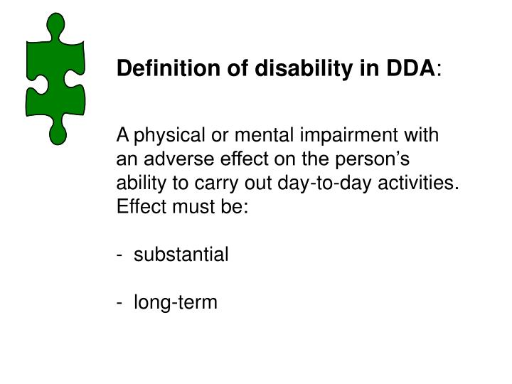 Definition of disability in DDA