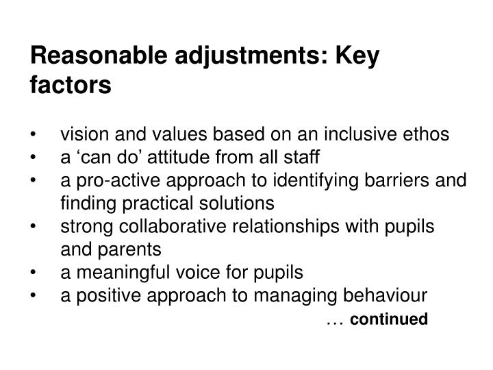 Reasonable adjustments: Key