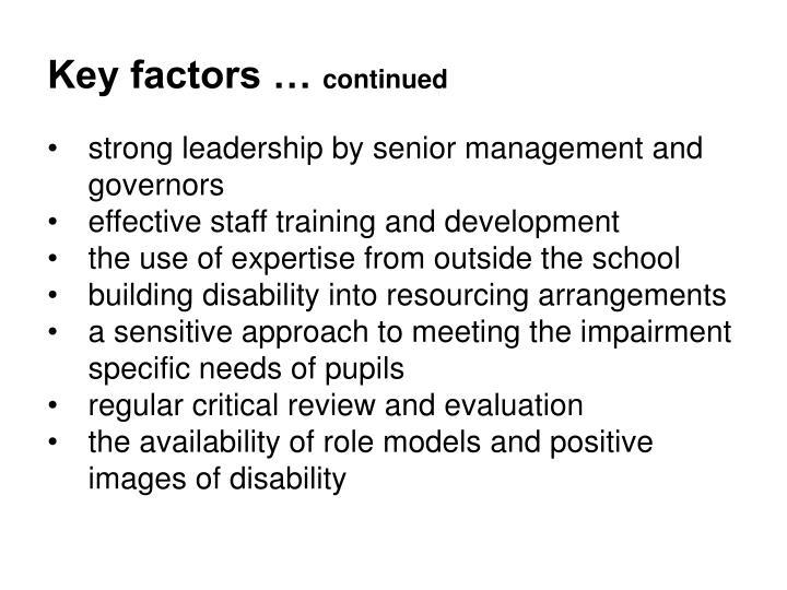 Key factors …