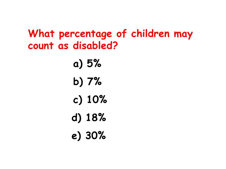 What percentage of children may count as disabled?