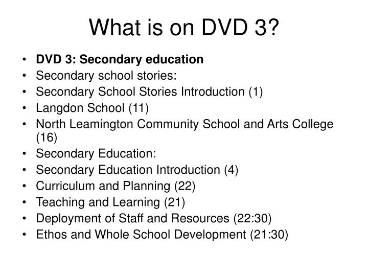 What is on DVD 3?