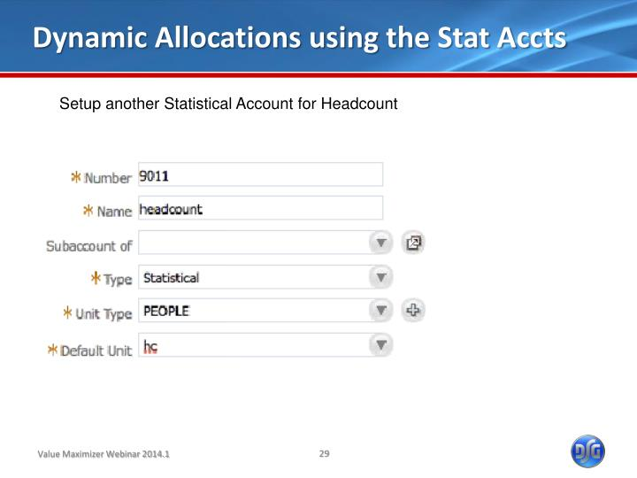Dynamic Allocations using the Stat Accts