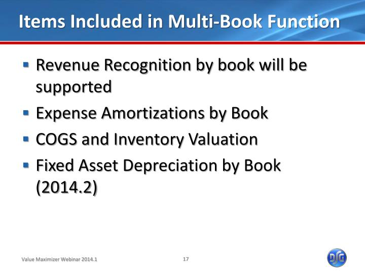 Items Included in Multi-Book Function