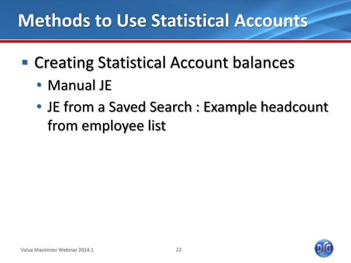 Methods to Use Statistical Accounts