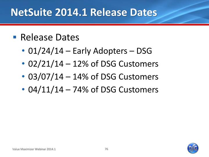 NetSuite 2014.1 Release Dates
