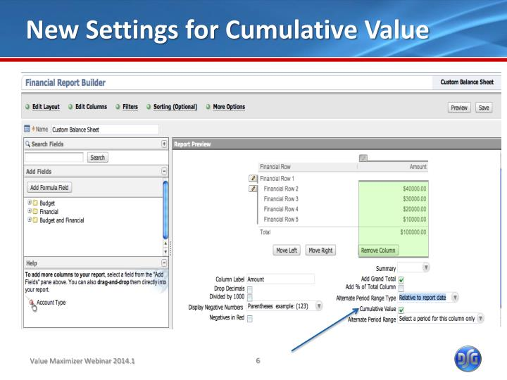 New Settings for Cumulative Value