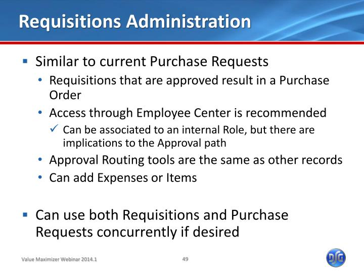 Requisitions Administration
