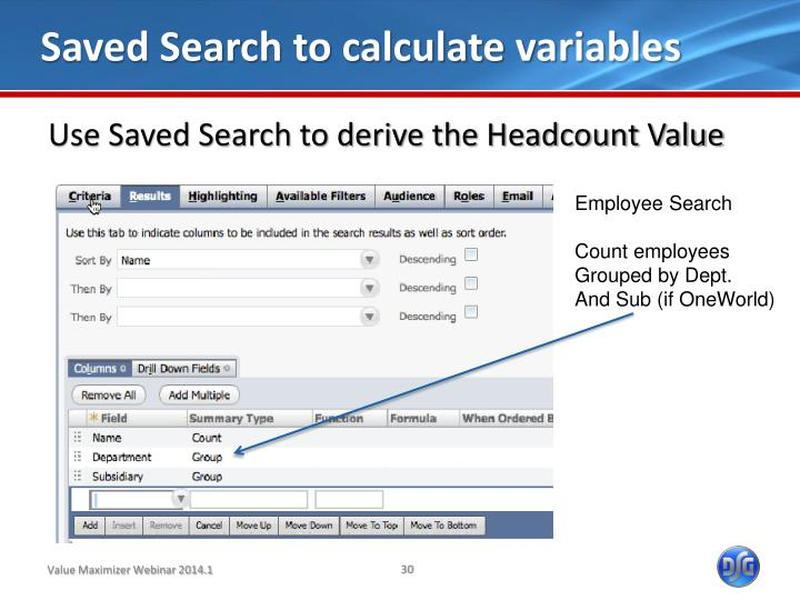 Saved Search to calculate variables