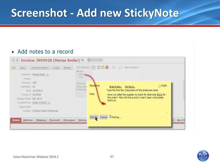 Screenshot - Add new StickyNote