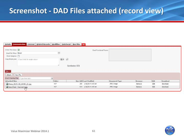 Screenshot - DAD Files attached (record view)