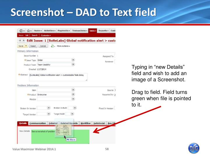 Screenshot – DAD to Text field