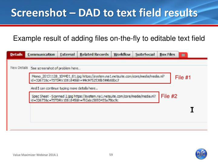 Screenshot – DAD to text field results