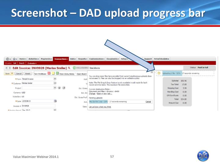 Screenshot – DAD upload progress bar