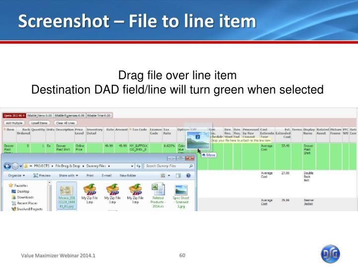 Screenshot – File to line item