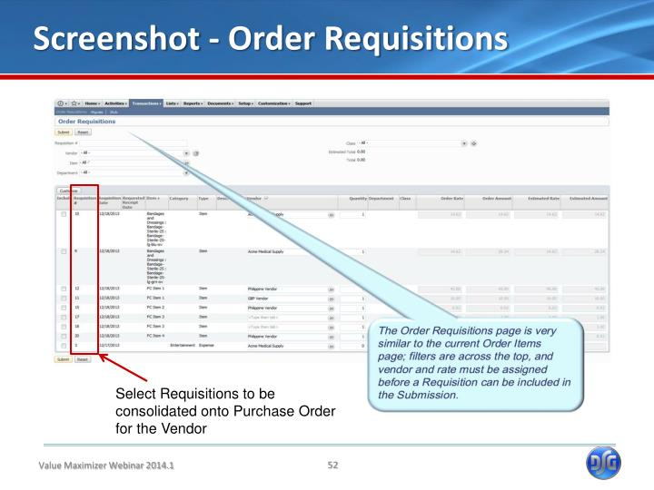 Screenshot - Order Requisitions