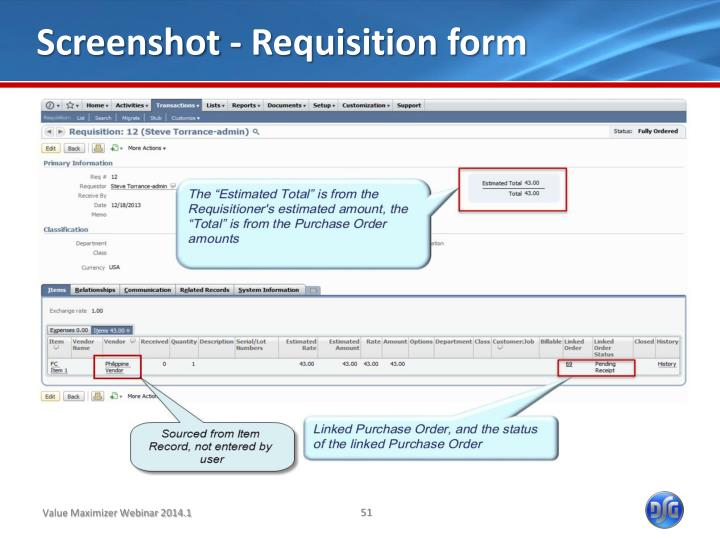 Screenshot - Requisition form