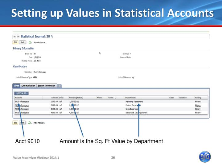Setting up Values in Statistical Accounts