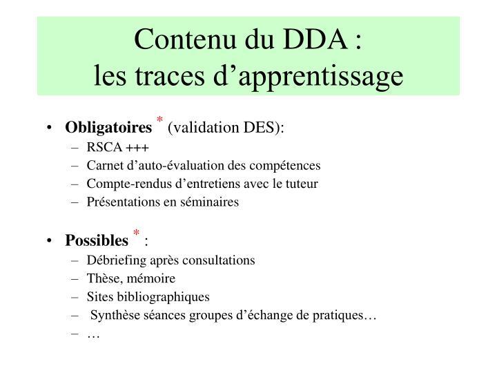 Contenu du DDA :