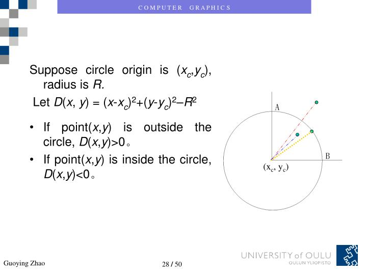 Suppose circle origin is (